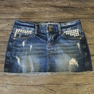 Express Jeans Mini Distressed Denim Skirt Sz 0